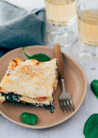 Lasagne met spinazie en zalm