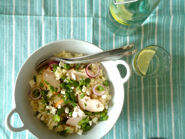 Couscous salade met tuinbonen
