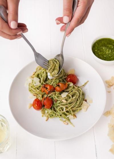 Spaghetti met muntpesto