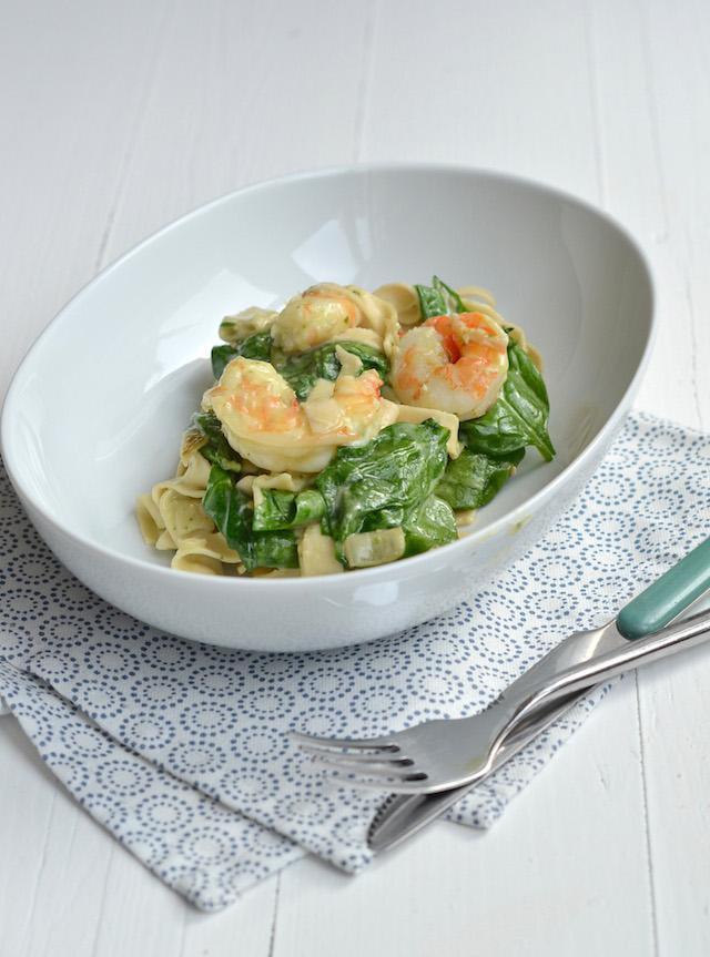 tagliatelle met garnalen en spinazie