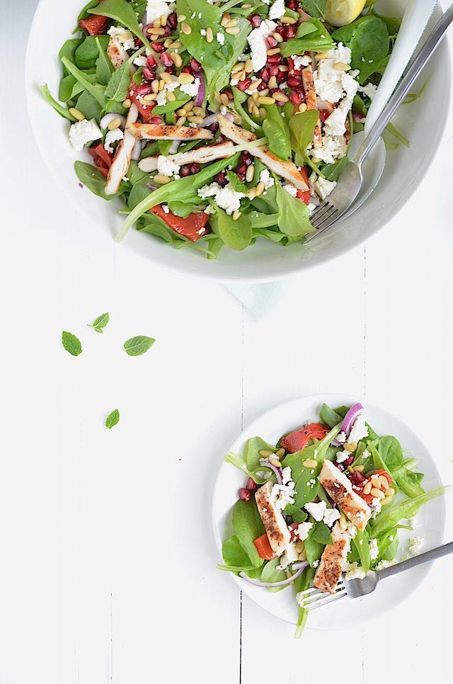 Fresh easy salade met kip en granaatappel uit pauline for Vers de salade