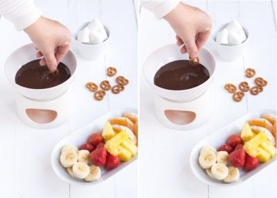 Chocoladefondue van leftover chocoladeletters