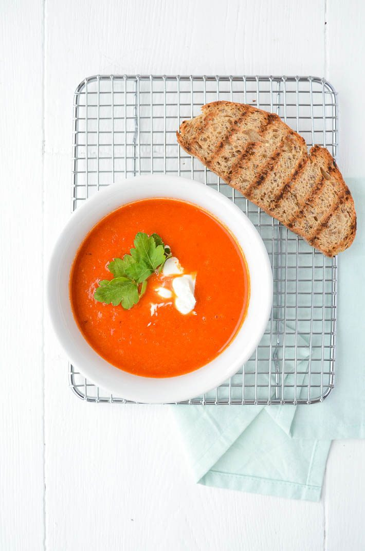 Geroosterde paprika soep
