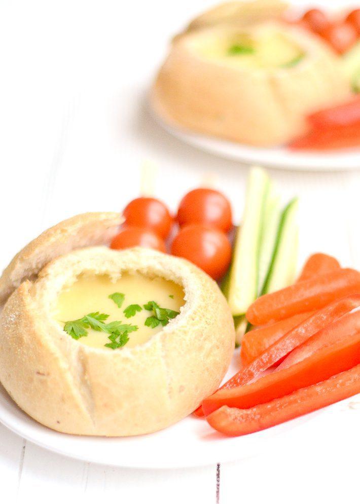 kaasfondue in brood