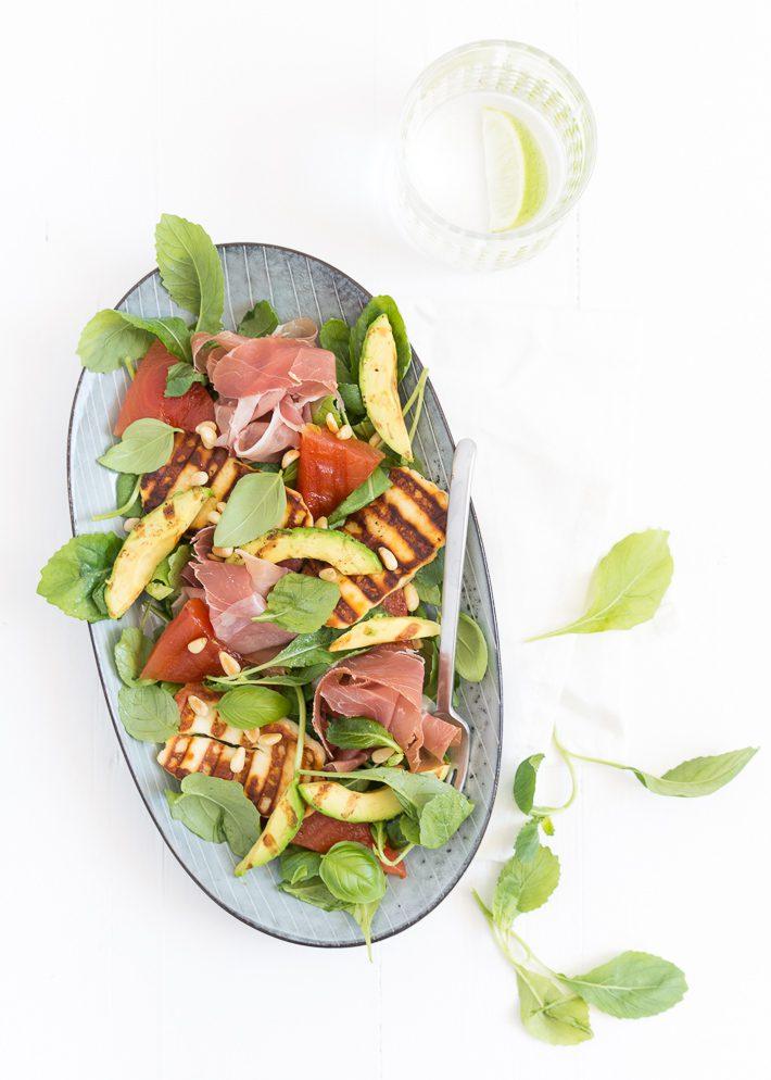 Italiaanse Keuken Teksten : Salade met gegrilde watermeloen en halloumi – Uit Pauline's Keuken