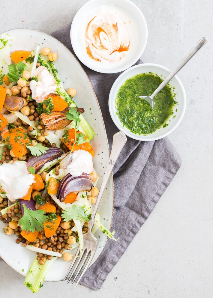 Salade met geroosterde pompoen