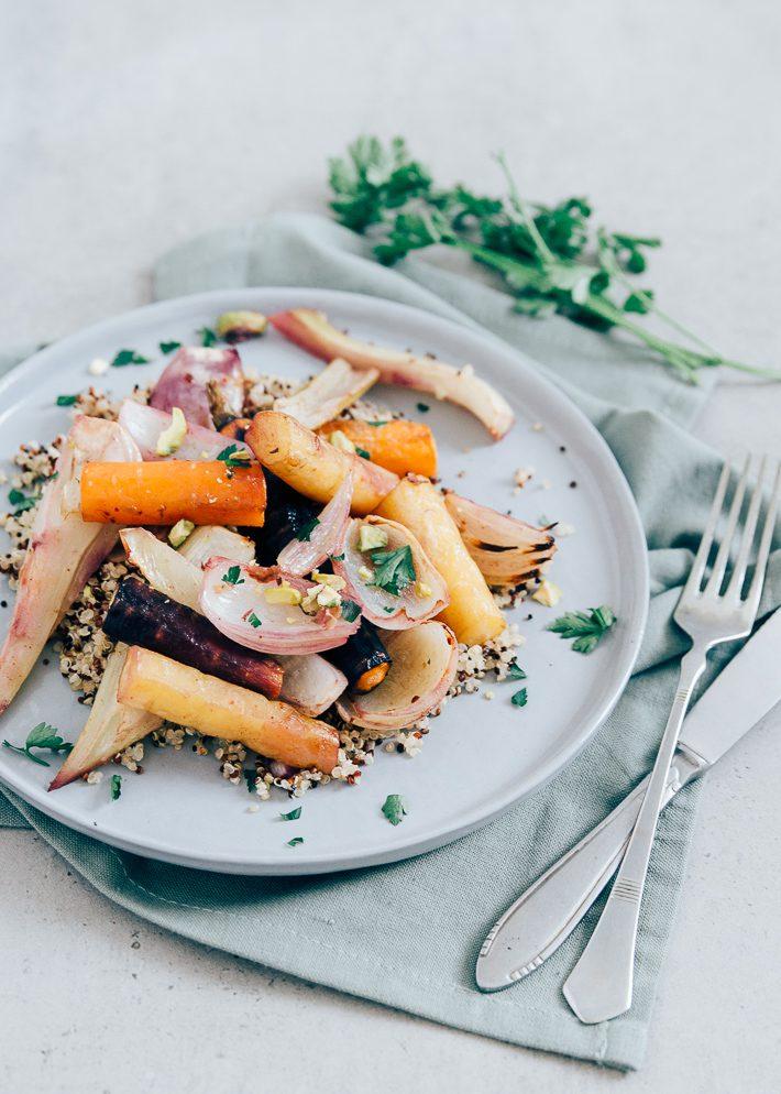 Quinoa salade met geroosterde groente