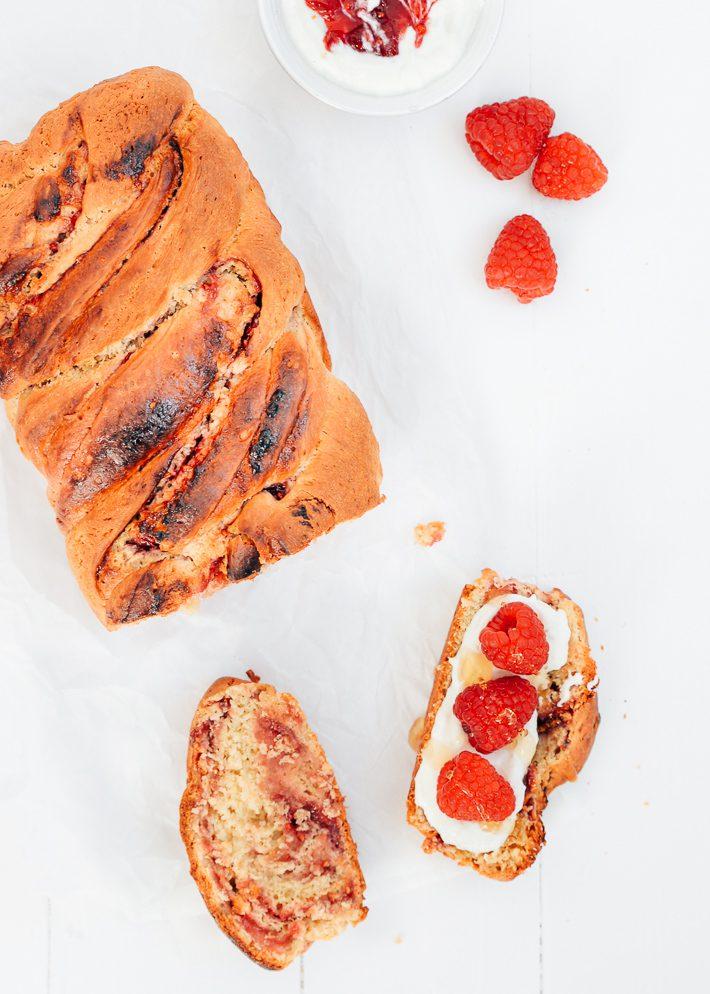 Brioche brood met framboos