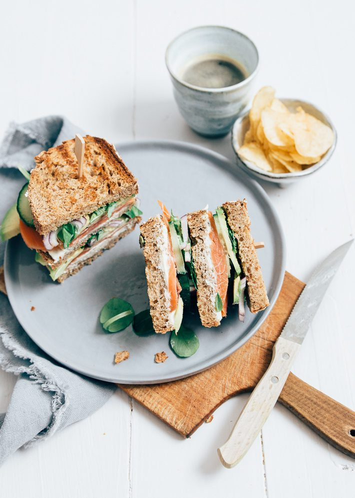 club sandwich met zalm
