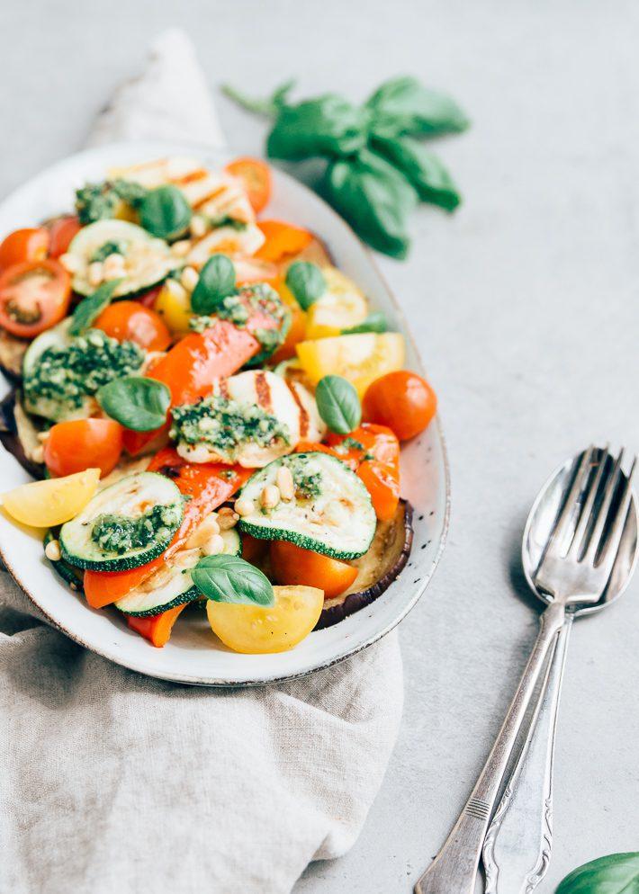gegrilde groente met halloumi