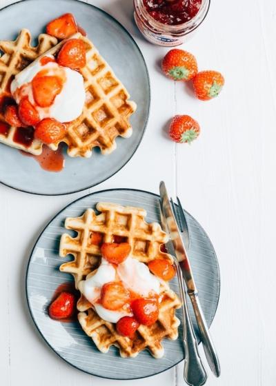 Kwarkwafels met aardbeien