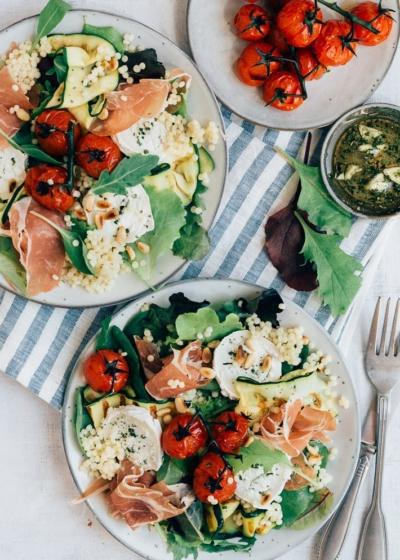 Parelcouscous salade met gegrilde groenten