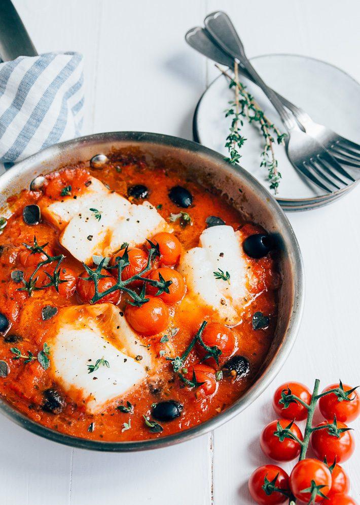 kabeljauw in tomatensaus