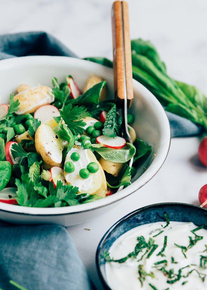 aardappelsalade met muntdressing
