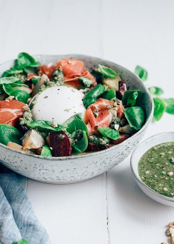 salade biet burrata pistachepesto