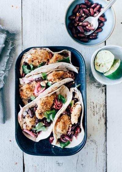 Soft taco met krokante kip