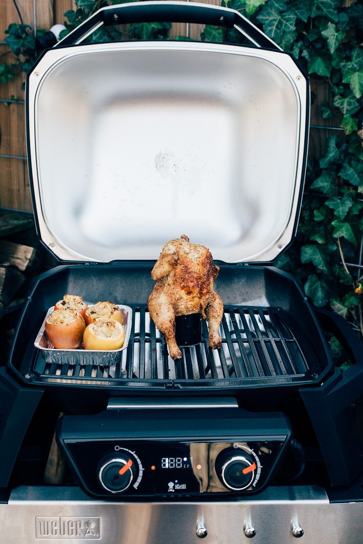 Weber bbq cider can chicken