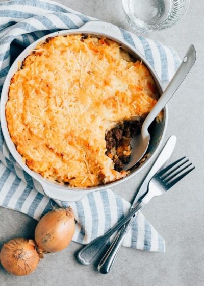 Hutspot uit de oven met gehakt en kaas