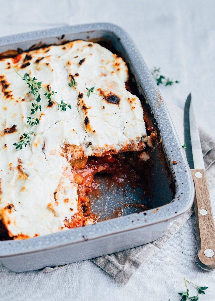 Zoete aardappel lasagne