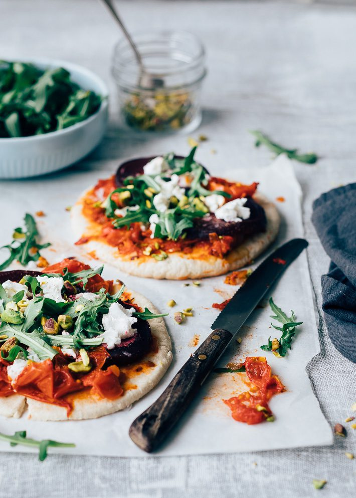 Flatbread pizza met geitenkaas