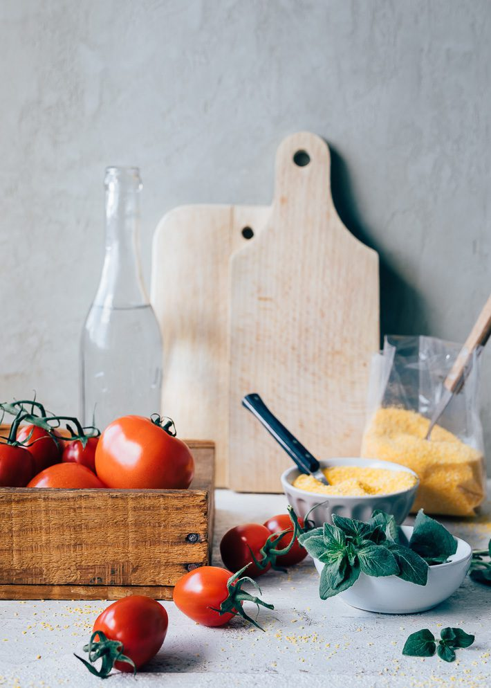 Polenta met geroosterde tomaten