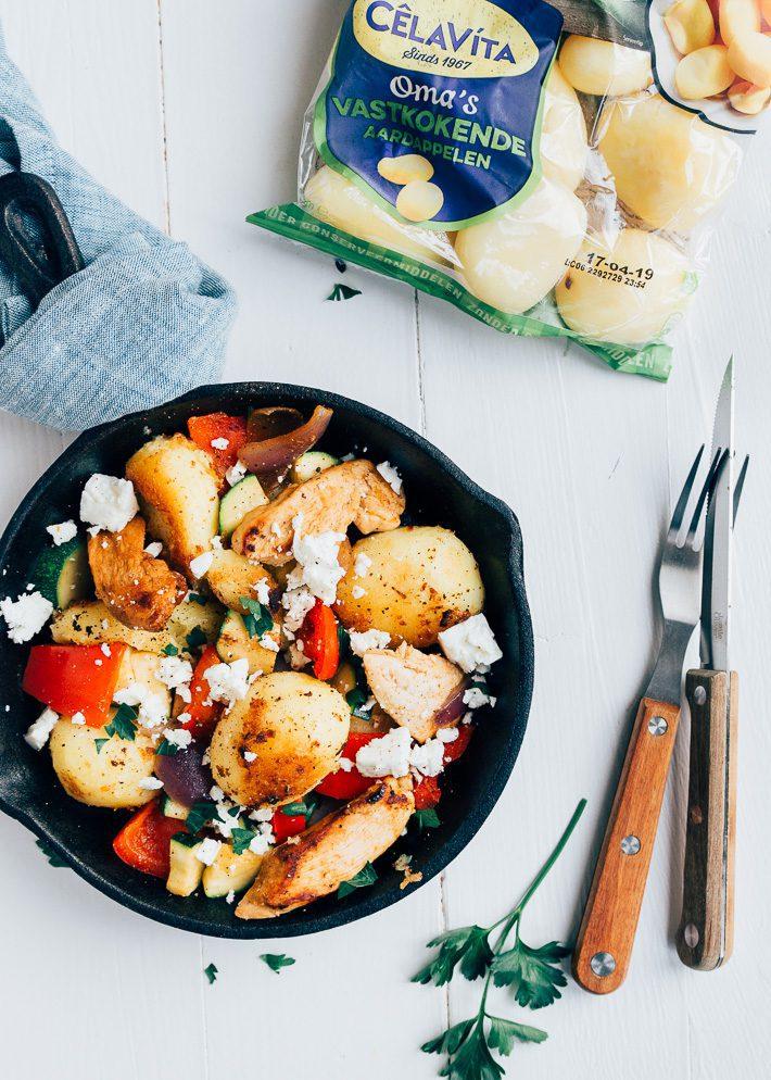 Grieks aardappelpannetje met kip