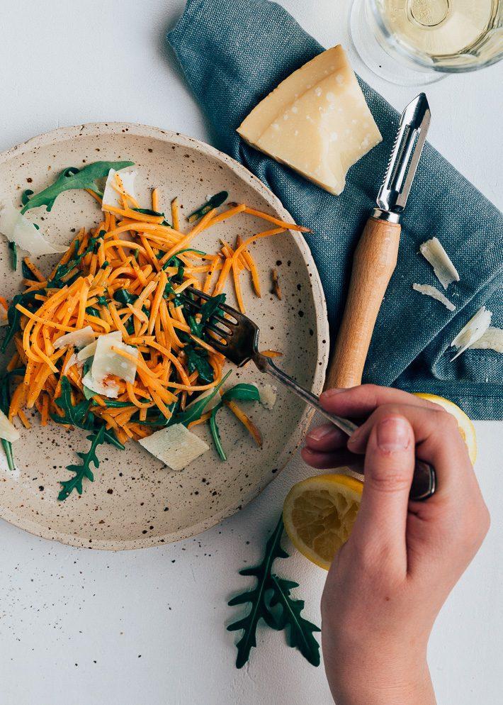 Zoete aardappelpasta met citroensaus
