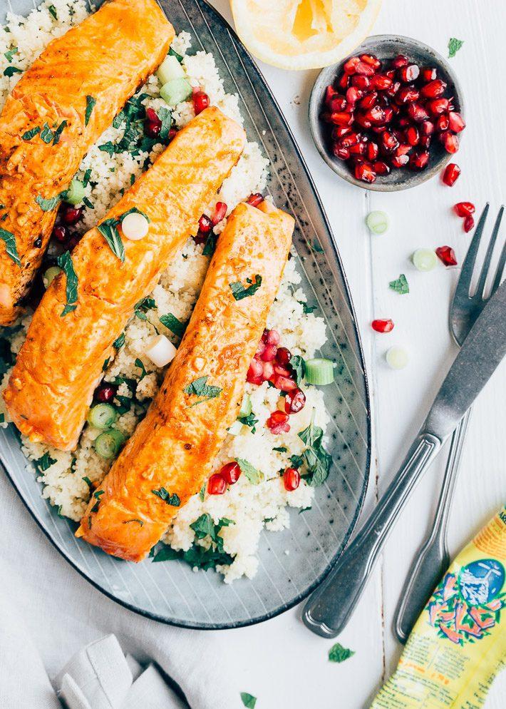 Zalm met harissa en couscous