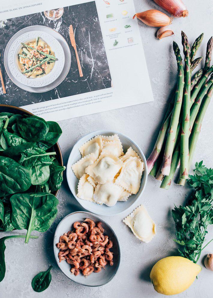 Verse ravioli met groene asperges
