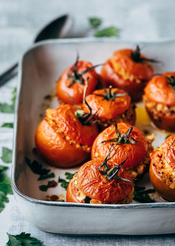 Gevulde tomaten met quinoa uit de oven