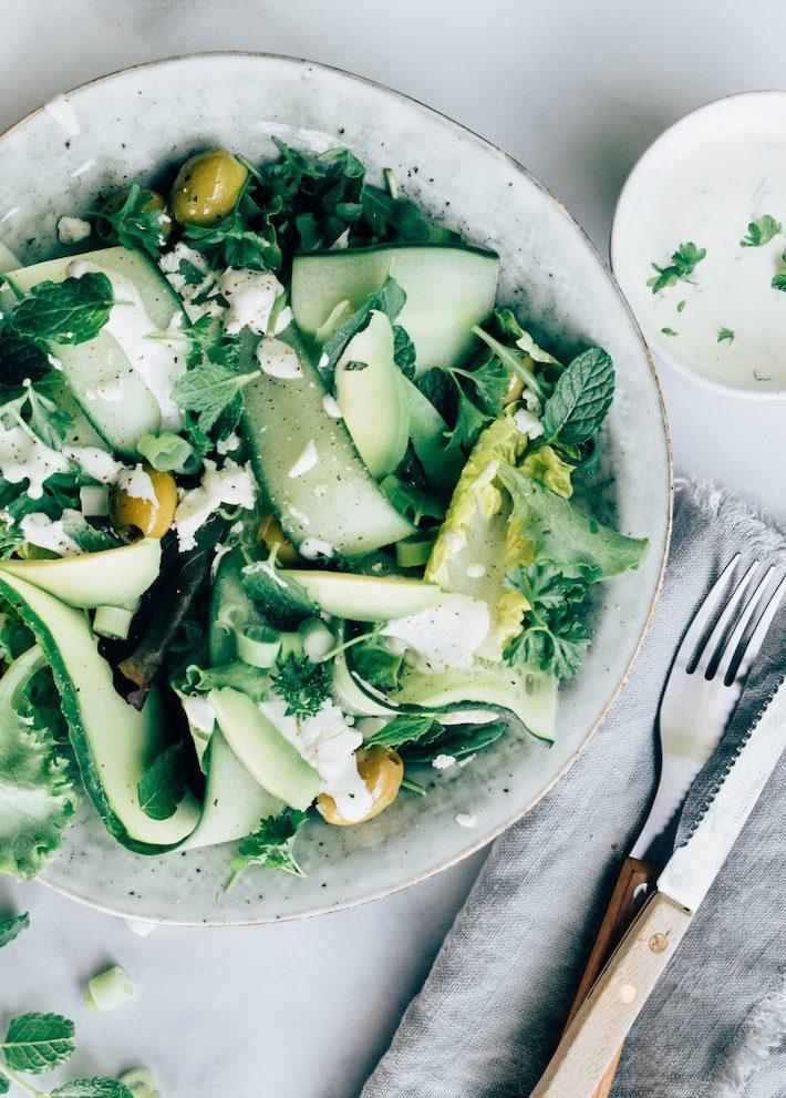 Groene salade met muntdressing