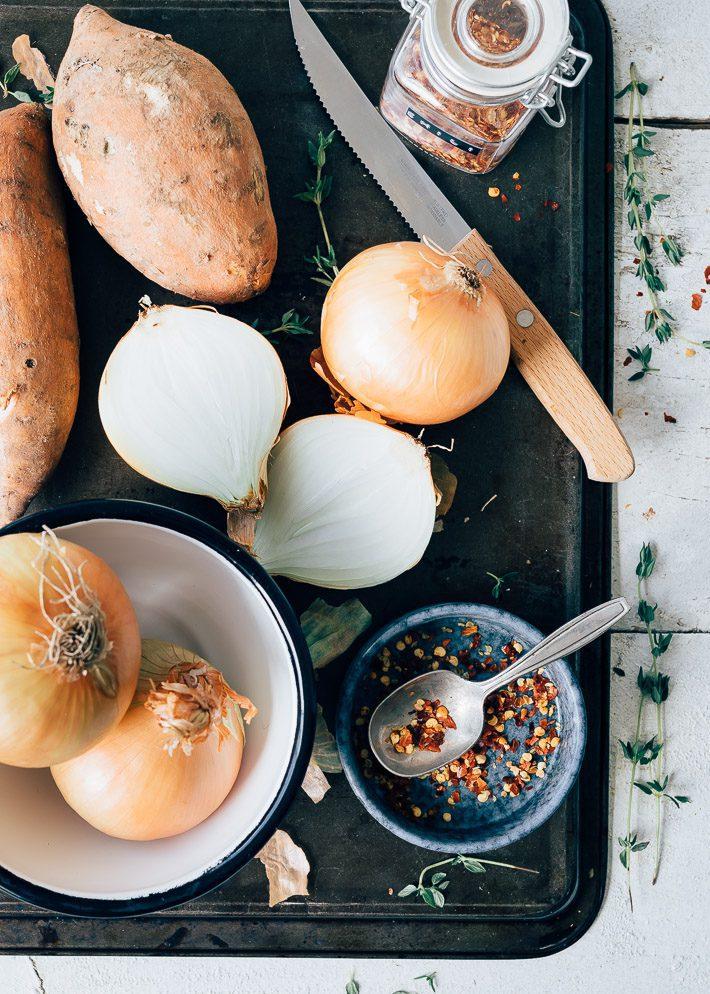 Bladerdeeg pasteitjes met zoete aardappel