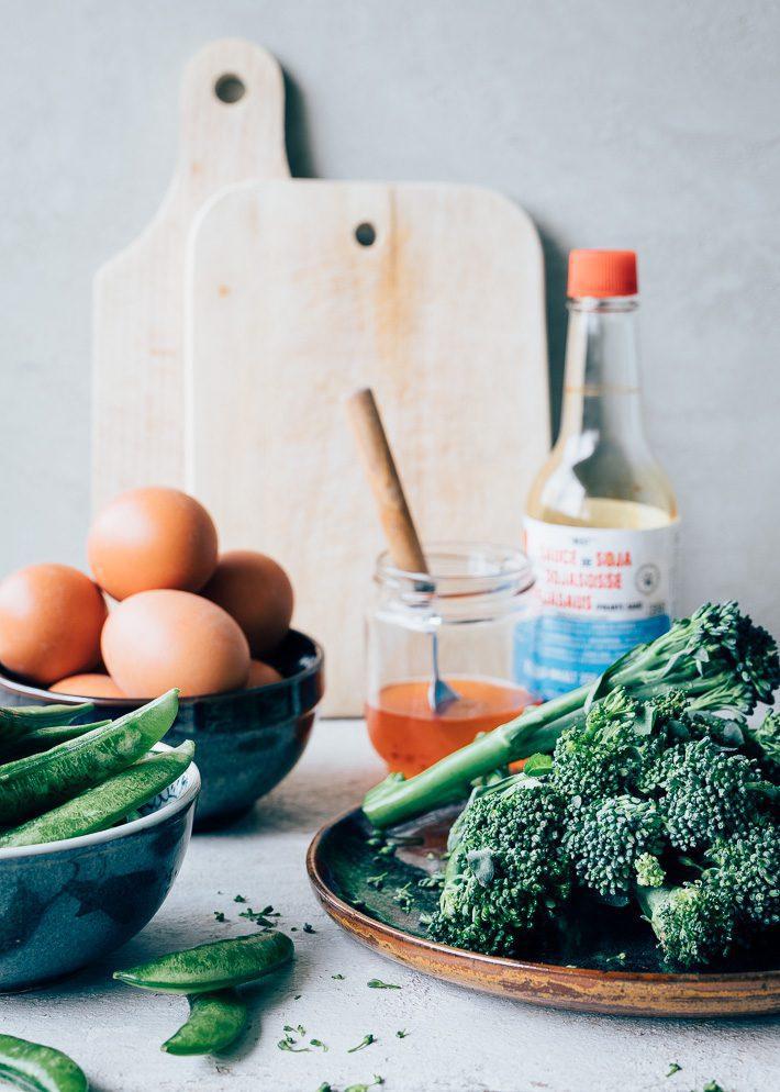 Aziatische omelet met kip & groente