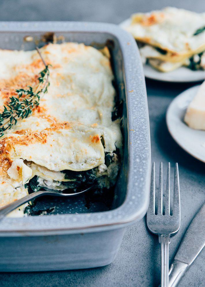 Paddenstoelen lasagne met ricotta
