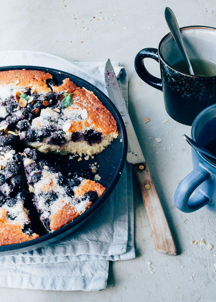 Blauwe bessen cake met kwark