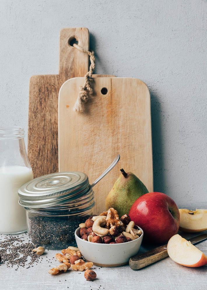 Chiazaadpudding met vers fruit & noten