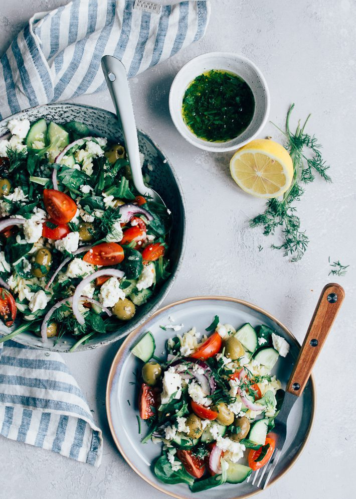 Griekse Orzo salade met citroendressing