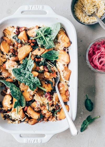 Vegetarische ovenschotel met bonen