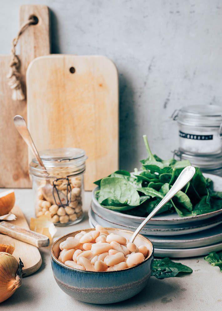 Cannellini bonen met spekjes, spinazie en dragonolie