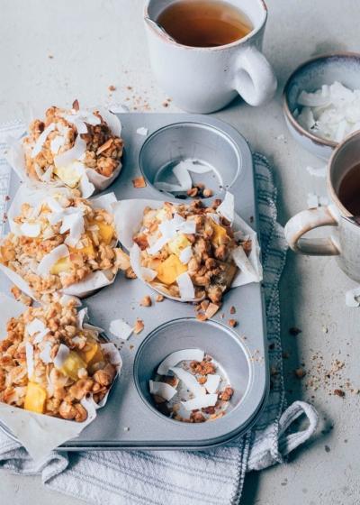 Yoghurt muffins met tropische crumble