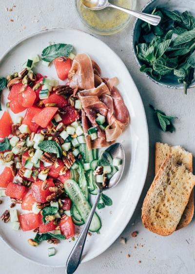 Zomerse salade met watermeloen