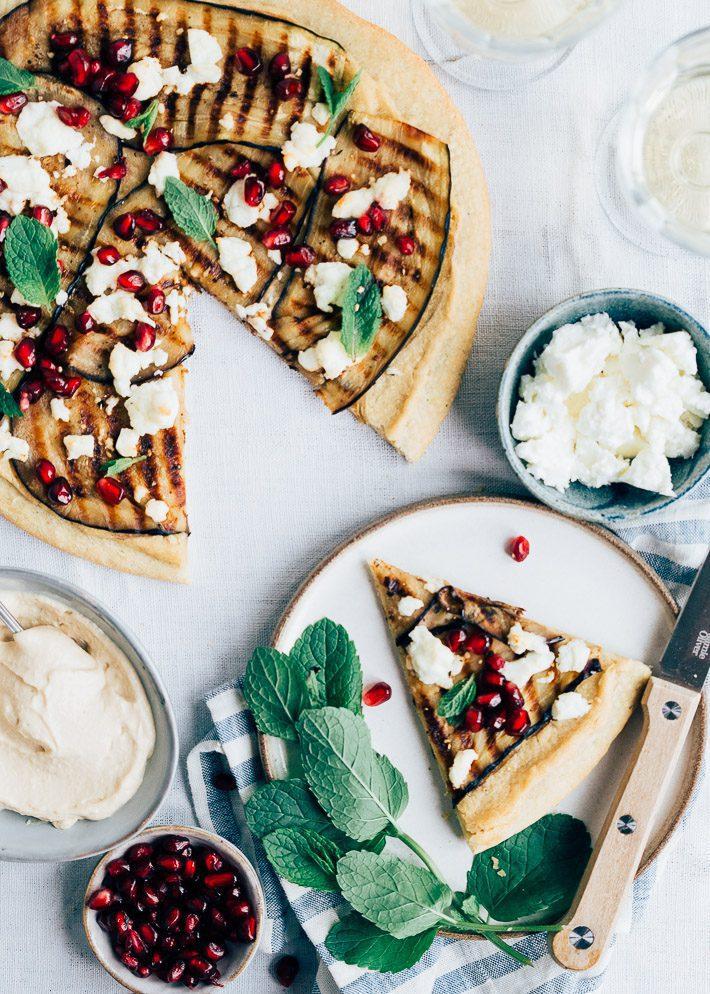 Groentepizza met gegrilde aubergine