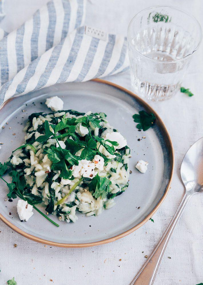 Risotto met spinazie en geitenkaas