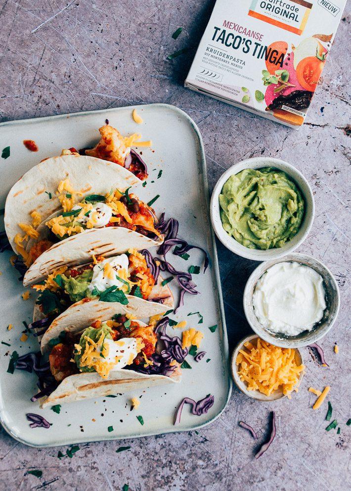 Vegetarische taco's Tinga met bloemkool