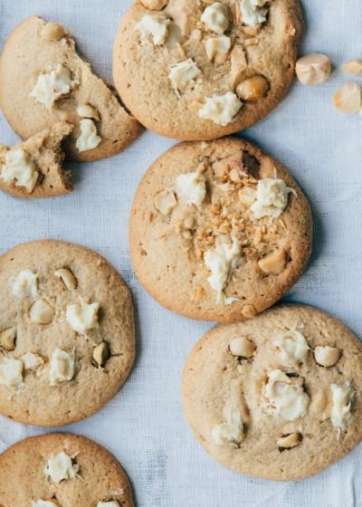 White chocolate chip cookies met Macadamianoten