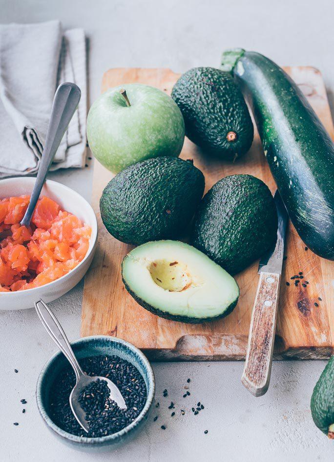 Gevulde courgette met zalm en avocado