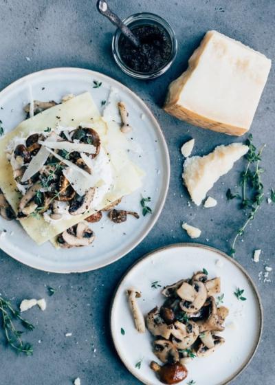 Open lasagne met paddenstoelen en truffel