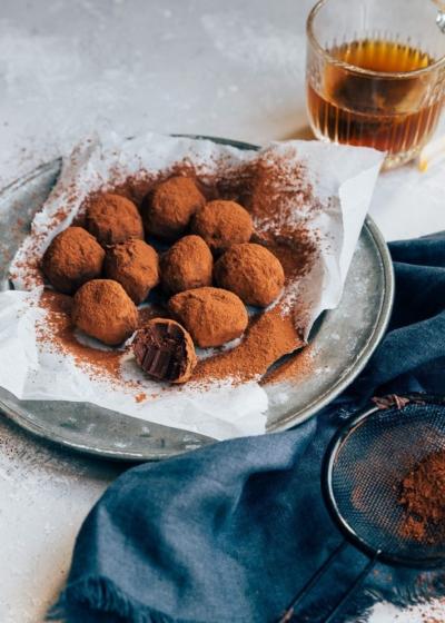 Makkelijke chocoladetruffels van ganache