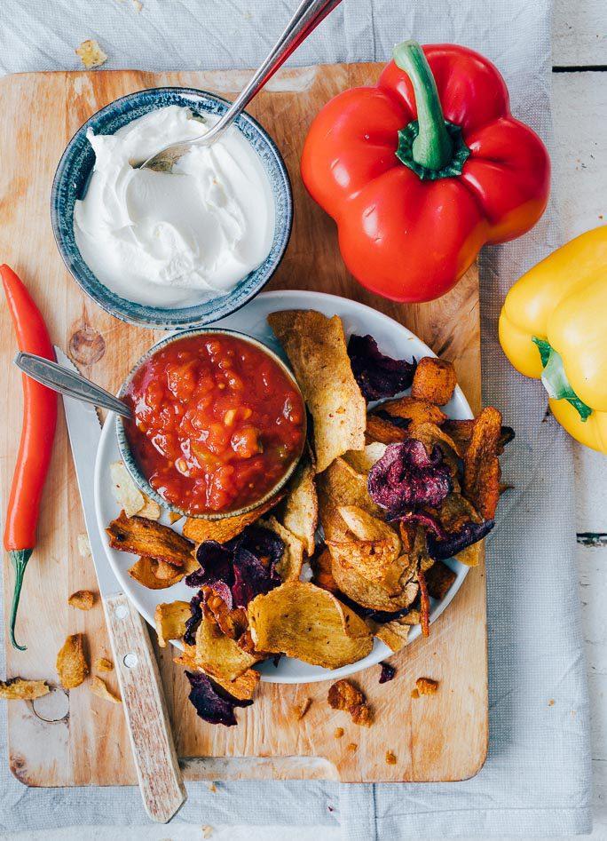 Vegetarische nachoschotel