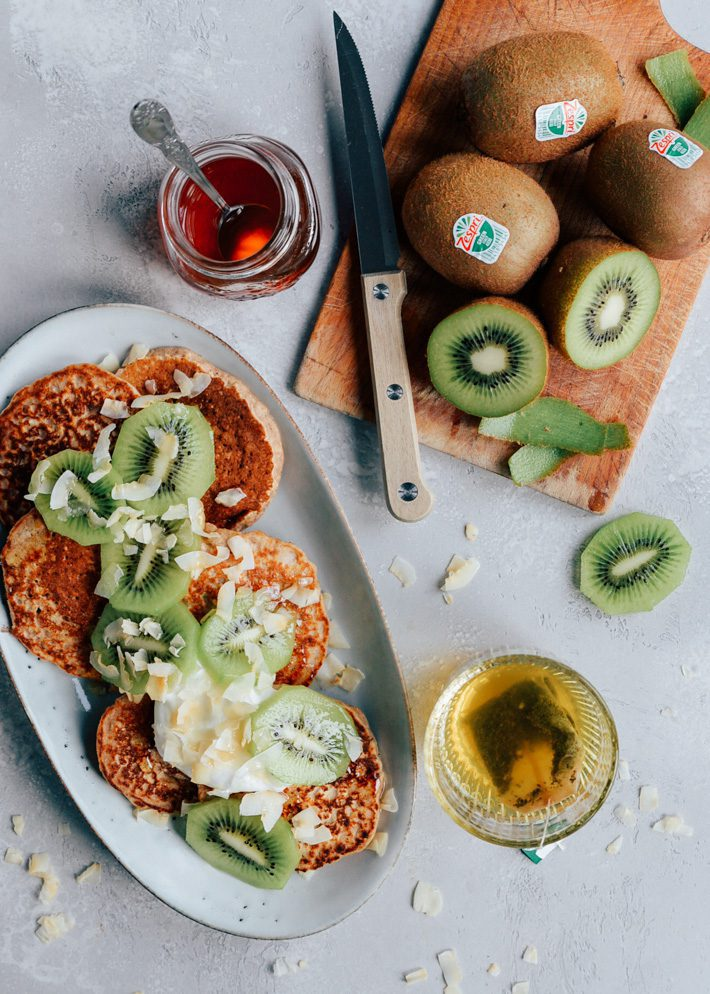 Havermout pannenkoeken met kiwi